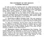 The University of New Mexico's Wartime Program by University of New Mexico