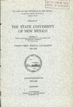 1921-1922-UNM CATALOG by UNM Office of the Registrar