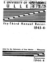 1943-1944 ANNUAL RECORD- BULLETIN by UNM Office of the Registrar