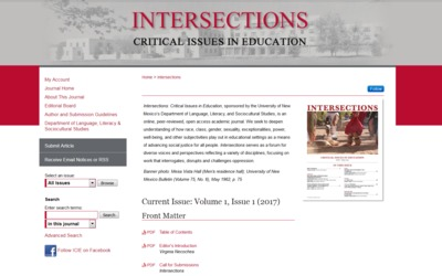 Site for Intersections:  Critical Issues in Education