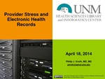Provider Stress and Electronic Health Records
