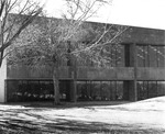 Exterior shot of law library's northeast windows during day
