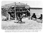 Caption: A beautiful Navajo blanket takes shape on a primitive loom in front of a hogan (dwelling) on the Navajo reservation.  The Navajos are an important part of New Mexico's tri-cultural heritage.