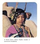 Caption: A Santa Clara Indian Pueblo maiden in ceremonial headdress.
