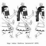 Caption: Hopi Indian Kachinas (ceremonial dolls).