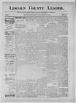 Lincoln County Leader, 08-31-1889 by Lincoln County Publishing Company