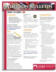 Anderson School of Management weekly bulletin, November 19, 2007. by Anderson School of Management