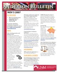 Anderson School of Management weekly bulletin, November 5, 2007. by Anderson School of Management